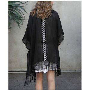 NEW! Black Open Back Fringe Kimono